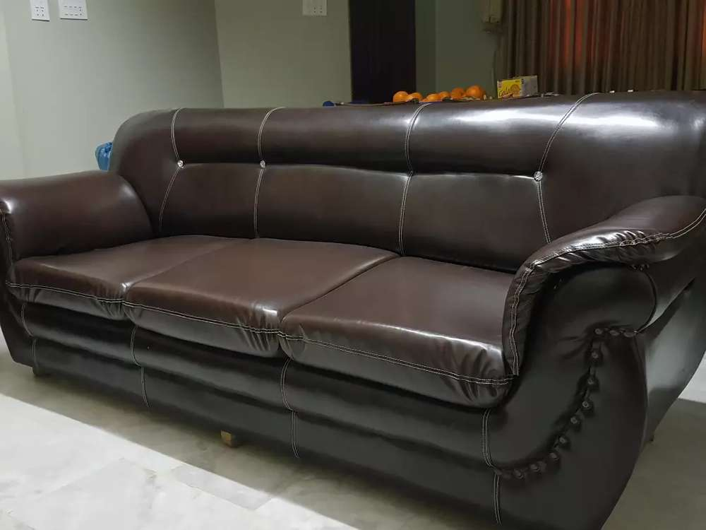 Brown Leather Sofa Set 9 Seater