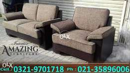 New comfort sofa seven seater in fabric joot and leatheright..