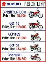 Suzuki bikes available in cash and easy monthly installment.