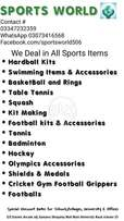 Sports Items Of All Types