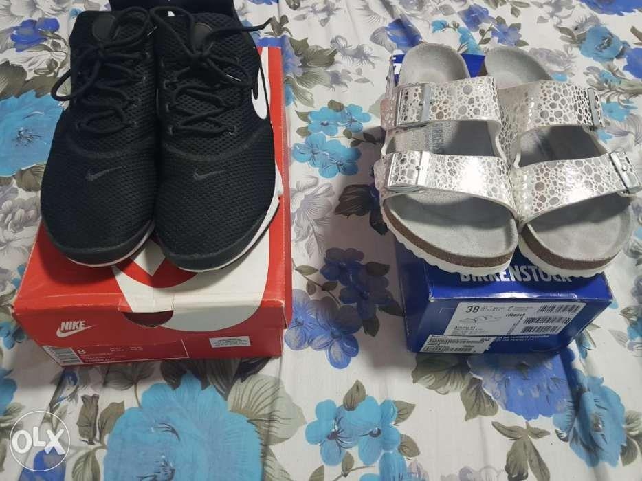 be7048372c798 Birkenstock Arizona Metallic Stones Silver and Nike Presto Fly Black ...
