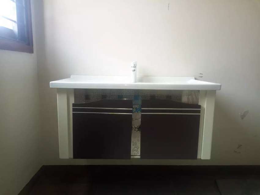 buy popular 9a20b 8d5dc Modern Wall-Mounted Ceramic Top Wash Basin + Wooden Drawer and Cabinet