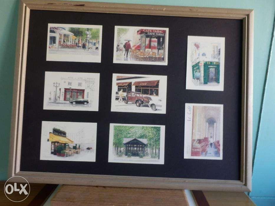 framed vintage coffee shop with 8pcs postcard size illustratd tamamura ...