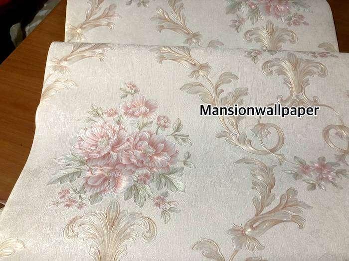 Wallpaper Dinding Murah Sale Bunga Shabby Cream Elegan