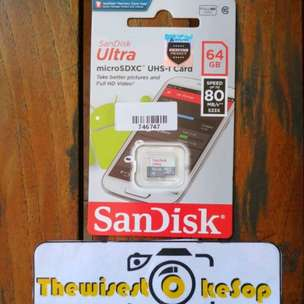 Micro SD Card SanDisk Ultra Memori Card HP 64Gb 80mb/s