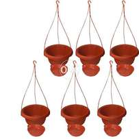 Pack of 6 Hanging flower pots with base 10.5 x 7.25""
