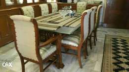 New pure shesham wood dining | Eight chairs back cushion tufted.