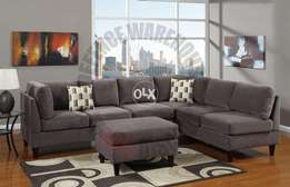 New modern L shape sofa set with center puffy piece