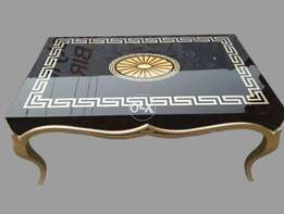 high gloss table with versace design
