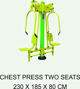 BERKUALITAS Chest Press Two Seats Alat Fitnes Outdoor