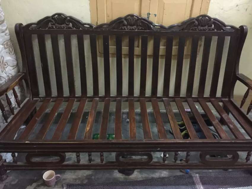 1 three seater and 2 one seater sofa set pure wood old style. - Sofa ...
