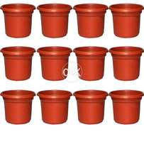 Pack of 12 Flower Pots Plastic Size 7""