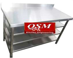 steel non magnet working table 48*30 tripple shelf , breading table