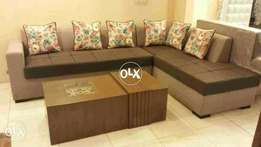 New L shape sofa six seater   without Tables   imported fabric.