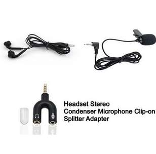 Microphone Condenser + Headset Stereo + Adapter Audio Stereo Splitter
