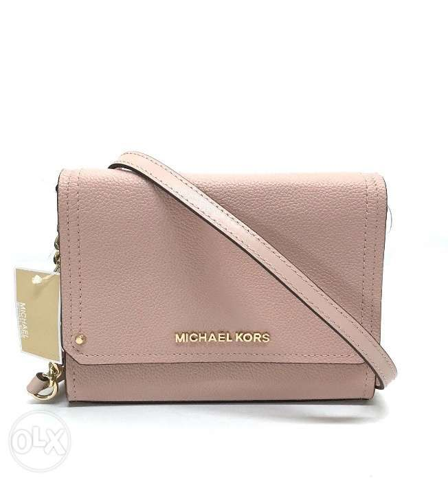 1a7ed81dc65646 AUTHENTIC Michael Kors Hayes Small Cluth Bag in Pastel Pink Leather ...