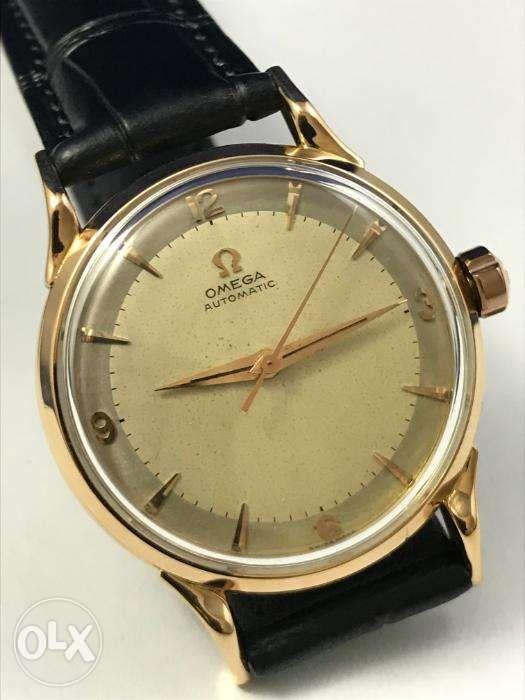 ab9b7b34de6 ... 1956 Omega 18K Rose Gold Automatic Bumper Watch Rolex Tudor IWC Patek  ...