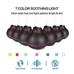 H18 - Wooden Humidifier Aroma Diffuser 7 Color LED Light 400ml