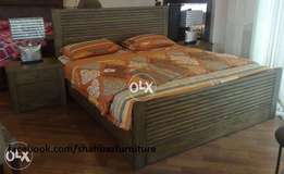 ash linning bed set with side tables and one dressing