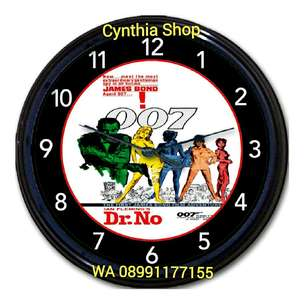 Jam dinding Sean Connery James Bond Dr. No clock import