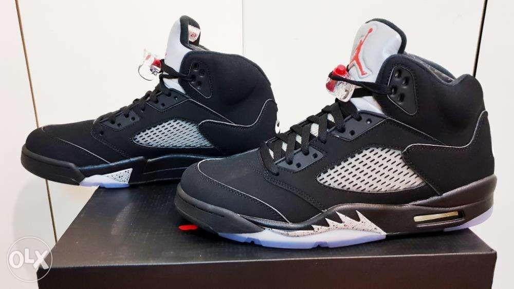 size 40 aa860 97386 Air Jordan 5 Retro OG Black Fire Red Metallic Silver White ...