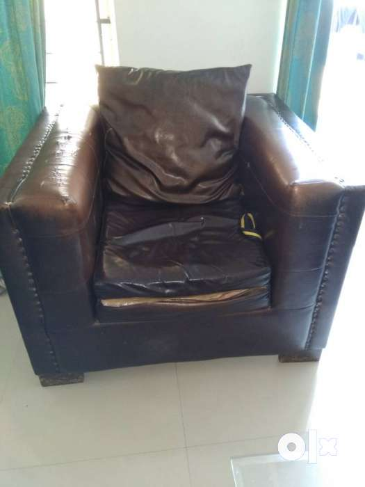 brown leather 3 seat sofa pune furniture wagholi On t furniture wagholi