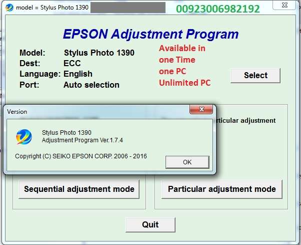 Epson Reset All Model Ink Pad Resetter Adjustment Softwar avail
