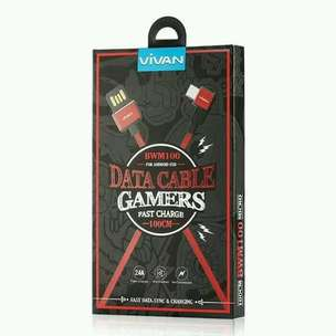 data cable gamers fast charge 100cm micro vivan BWM100