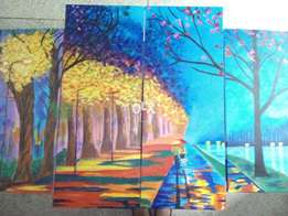 4 canvas set Abstract landscape Acrylic Painting