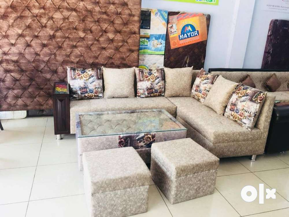 Brand new 8 seater sofa set with center table and puffy in ...