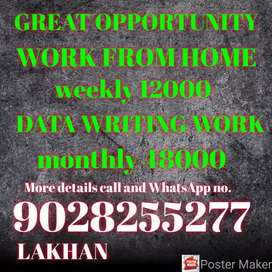Great opportunity simple hand writing work weekly
