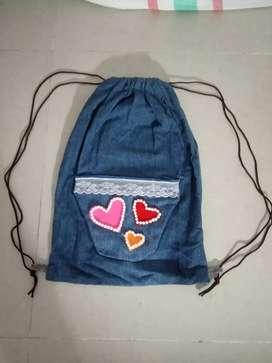 Tas ransel jeans handmade
