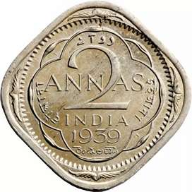80 Years Old Indian 2 Anna's Coin 1939 Issue