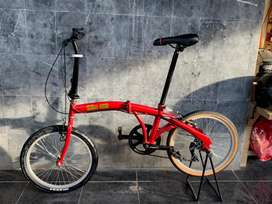 sepeda lipat upgrade red carry crank 50t