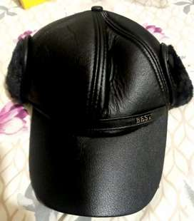 Leather Cap with Ear Flaps *Imported Pure Leather*