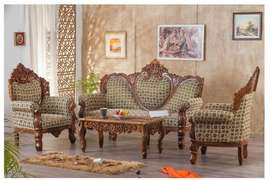Sofa Set with center table - wooden carving, and Easy Chair New items