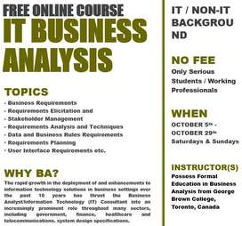 FREE ONLINE COURSE -IT BUSINESS ANALYSIS