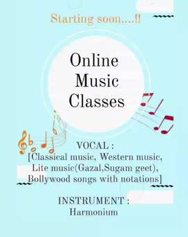 Music Teacher (Vocal & Harmonium) Is available from now onwards..