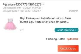 Dress unicorn bayi perempuan