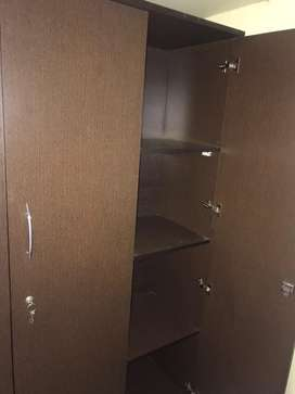 3door wardrobe, dark brown color , ply wood