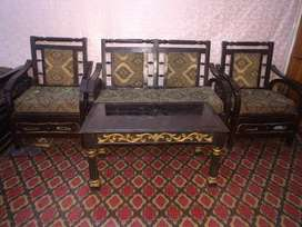 One large size bed sofa set with table and singhar table