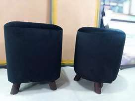 New SMALL ROUND Imported Fancy Stools Black (set of 2)