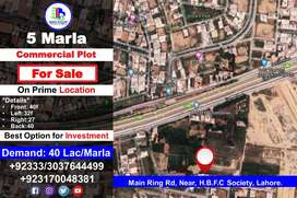 5 Commercial Plot for Sale on Main Ring Rd, Near, H.B.F.C Society, LHE