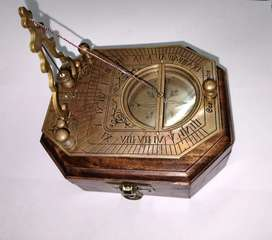Brass pendulum compass with wood box