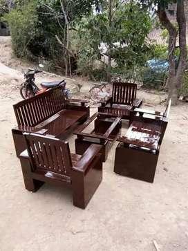 Kursi tamu tangan bola bahan jati asli