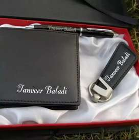 Customized wallet,keychain with wooden pen with gift box