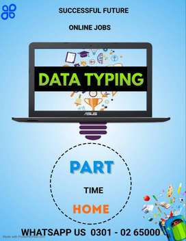 Online job opportunity in the field of simple data typing job laptop