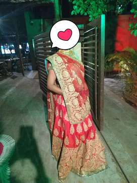 Benzer original bridal lehenga. Only worn once.Red light green.