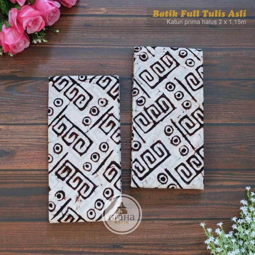Kain Batik Tulis Asli Katun Halus Bahan Batik Bakaran Motif Roda
