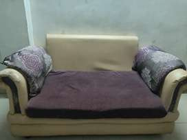 3 seater sofa in beige+ purple colour